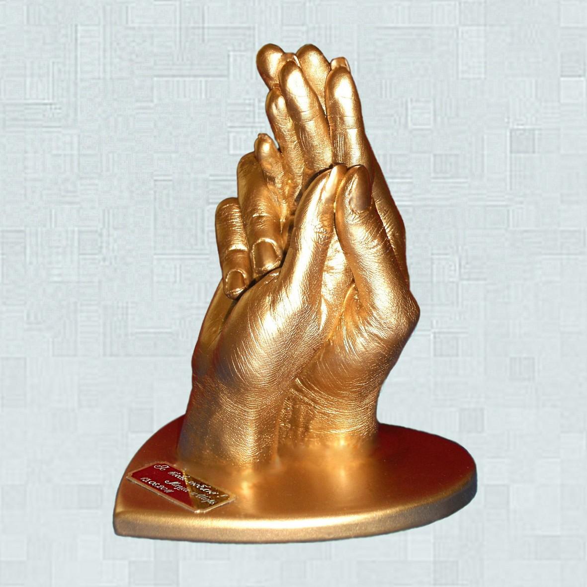 Слепки рук влюбленных 3D 2 руки на подставке