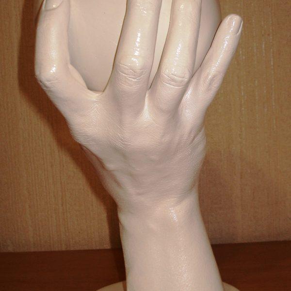 Женская грудь в руке слепок 3д